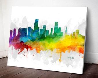 Miami Skyline Canvas,  Miami Print, Miami Art, Miami Gift, Miami Cityscape, MMR-USFLMI05C