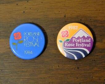 Two Vintage Portland Rose Festival Souvenir Buttons 1982 & 1984