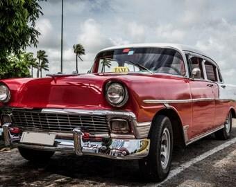 Red Antique Car (Framed Canvas)