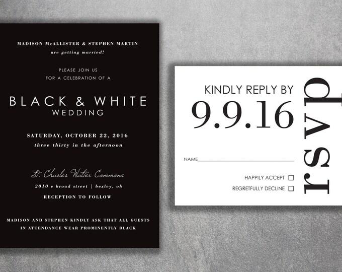 Affordable Wedding Invitations, Cheap Wedding Invitations, Wedding Invitation, Back and White, Simple Wedding Invitations, Modern, Classic
