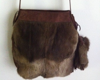 Really steep crossbody bag from real nutria fur and suede velvet fur bag with fur decoration stylish bag handmade new collection size-large.
