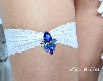 Blue Garter, Royal Blue Garte, Bridal Garter Set, Something Blue, Rhinestone Garter, Blue Wedding Garter, Blue Garter Set, Something Blue