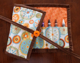 Boy Crayon Holder, Brown Crayon Roll Up, Crayon Holder, Crayon Tote, Gears, Blue Orange, Modern, Crayon Roll, Art Supplies, Craft tote
