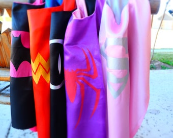 Batgirl, Spidergirl, Supergirl, Wonder Woman, Cat Woman Capes -Superhero birthday party favors, Superhero party, superhero capes
