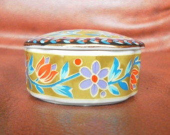 French porcelain box hand painted stamped fg