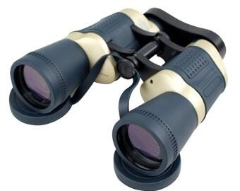 Perrini 30X50 Dark Blue & Tan Free Focus High Definition Binoculars 119M/1000M