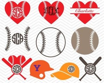 Baseball Monogram Ball heart hat Frames DXF SVG EPS for Cricut Design, Silhouette studio, Sure Cuts A Lot, Makes the Cut, vinyl Download