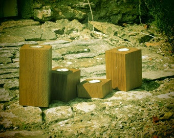 Candle Holders for tea lights.  Set of 4.  Made in weathered oak.  THE SEAVINGTONS