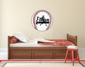 Personalized Baseball Wall Decal Player Silhouette Customized Playroom