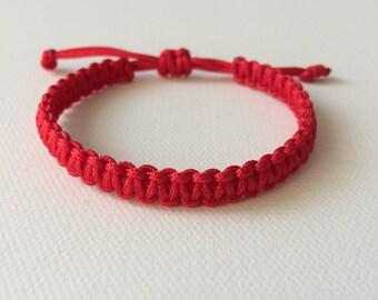 Red cord Bracelet, Red String Bracelet, Lucky Bracelet, Braid Bracelet, Yoga Bracelet, Simple Surfer Bracelet [Thin: Red cord]