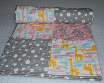Baby Quilt, Neutral Flannel Baby Blanket,