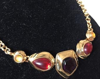 Vintage Monet Cabochon Gold Tone Necklace