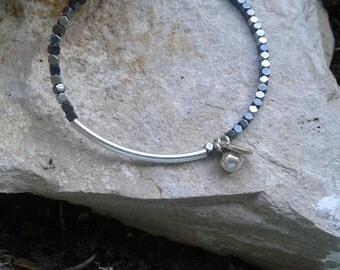 Hematite silver charm bracelet