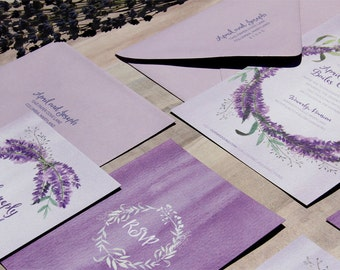 Lavender Wreath Wedding Invitation Sample