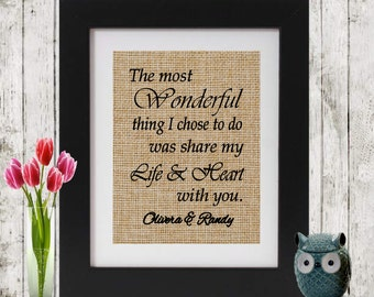 Anniversary Gift - The Most Wonderful Thing I Chose - Personalized Gift - Wedding,  Anniversary, Engagement -Gift for him - Gift for her