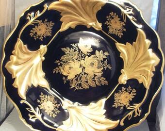 Showin Bowl/plate cobalt / gold Weimar model Jutta