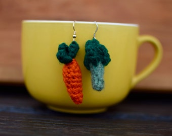 Crocheted Carrot and Broccoli Earrings