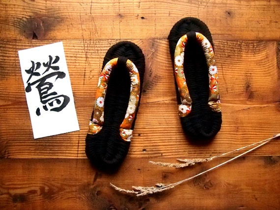 Nunozôri, Slippers, Indoor flip-flops, Men slippers, Women Slippers, Japanese, Kimono fabric, Christmas gift, Gift for him, Gift for her