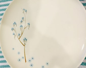 Set of four (4) 1950's Sloan China Spring Melody Dinner Plates by Lenore, Blue Floral Pattern