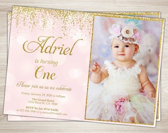 First Birthday Invitation Girl 1st Birthday Invitation  Pink and gold glitter first birthday One, Blush Pink Confetti printable photo invite