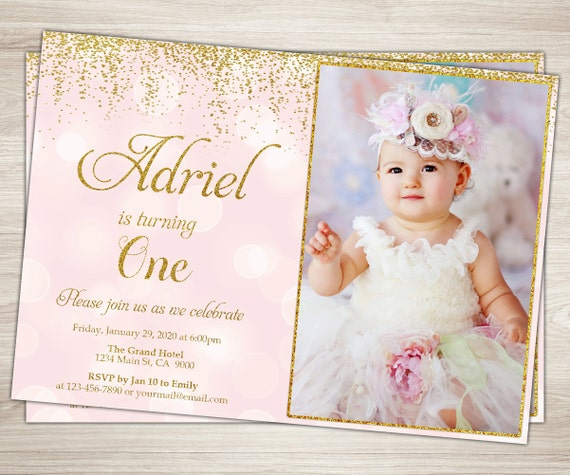 First Birthday Invitation Girl 1st Birthday Invitation Pink