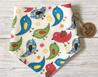 Baby Bandana Bib with Birds Fabric - birds Bib -Bibdana- Bandana Bib -Baby Bibdana -Baby Drool Bib -Adjustable Baby Bib -Dribble Bib -Scar