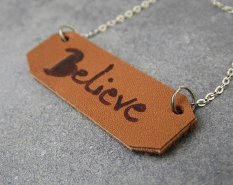 leather necklace, inspiration necklace, leather jewelry, inspiration jewelry, stamped necklace, leather pendant, believe necklace, mother