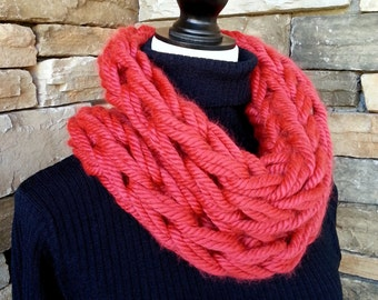 Arm Knit Scarf, Cowl Neck Scarf, Infinity Scarf, Neck Warmer, Knitted Scarf, Chunky Cowl,  Red Cowlneck