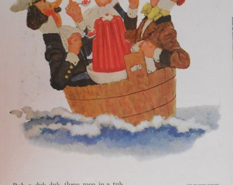 Jello ad.  1955 Jello ad.  Three Men in a Tub.  Color, illustrated ad. Vintage food ad.