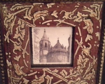 Wooden frame with embossing