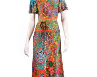 Leygil multi coloured floral vintage maxi dress size 6/8