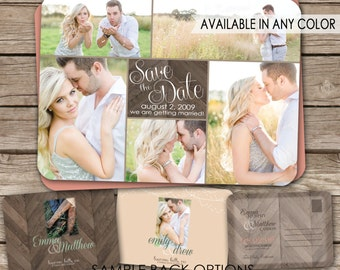Rustic Wedding Save the Date Postcard - printable card