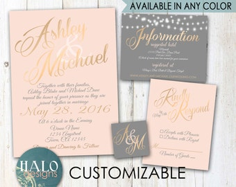 Classic Blush & Grey Wedding Invitations - Blush, Grey, classic, Elegant, Invitation, RSVP, Info card