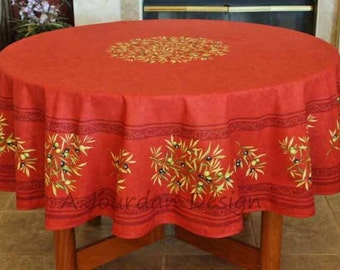 French Provence PETITE OLIVE RED Acrylic Coated Round Tablecloth   French  Oilcloth Stain Resistant   French