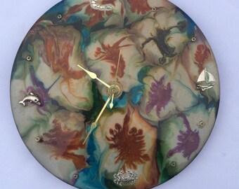 Resin Wall Clock/45 record clock/beach clock/OOAK clock/
