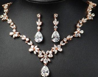 Rose Gold Bridal earrings Wedding jewelry Crystal Wedding earrings Bridal jewelry bridesmaid earring bridesmaid jewelry set bridesmaid gifts