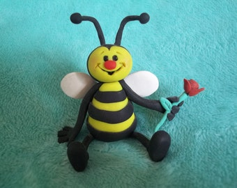 Cute Polymer Clay Bee Figurine with Rose