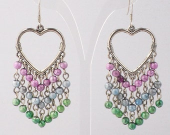 Sweetheart Earrings with Gold-lined Glass Beads