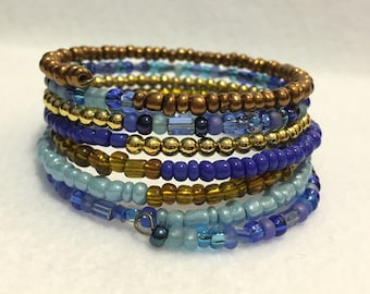 Seed Bead Wire Wrap Bracelet - Brown, Blue & Gold