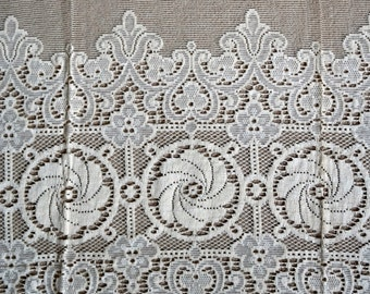 "Arts & Crafts cottage cotton lace curtain panel 36"" x 60"" wide sample c1930s Vintage fabric window decor"