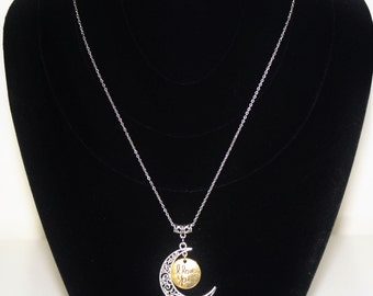 "Love You to the Moon ""I love you"" with .925 Sterling Silver Chain"