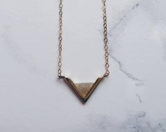 Minimal Labradorite Gemstone Necklace / Gold Tiny Labradorite Inverted Triangle Necklace / Dainty Layered Gold plated Necklace