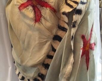 100% Silk Chiffon Hand-dyed Indigo Nuno Felted Shawl