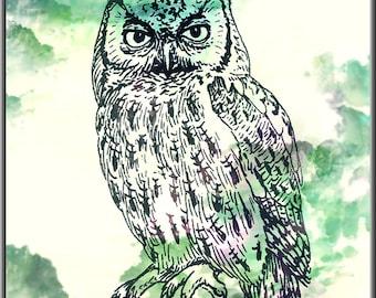 Owl Art Print, Owl Decor, Owl Watercolor Art, Owl, Owl Wall Decor (04)