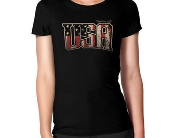 USA Patriotic Red, White Blue Women's Tee