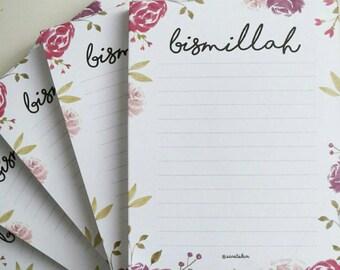 BISMILLAH Notepad with roses