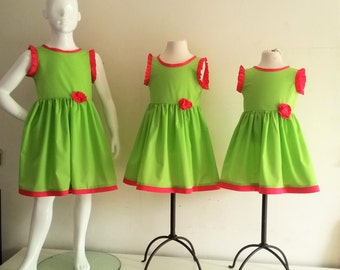 Girl pink and Apple green dress candy, dress child fashion,.