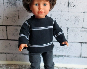 """American Girl or Boy Doll Grey Pants & Striped Polo Shirt, 18""""  Boy Doll Clothes/18-inch Doll Clothes/Top/Pants"""