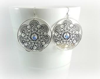 Large hoop earrings in silver, Sterling silver hoop earrings, 925 Sterling silver, large earrings