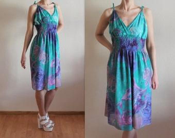Teal Green Purple Dress Shell Print Summer Dress Open Back Spaghetti Straps Sleeveless Dress Midi Dress